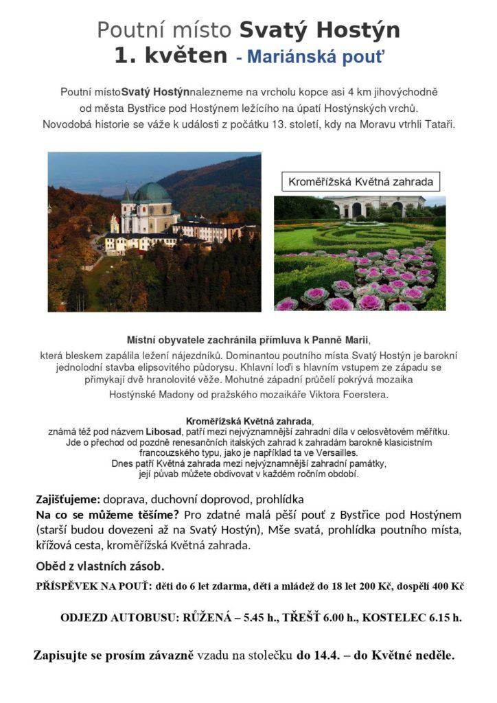 Společná pouť farností na sv. Hostýn a do Kroměříže do Květných zahrad